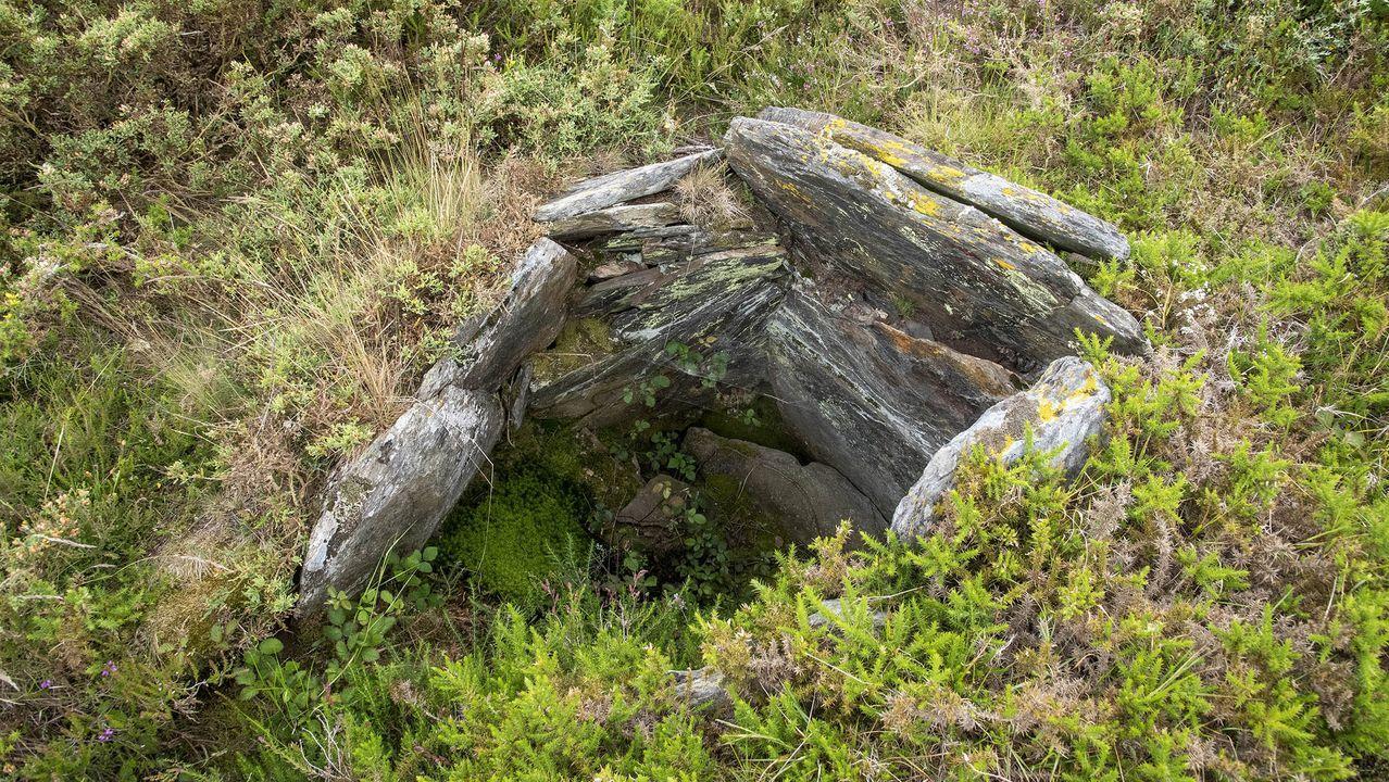 Piedras de un túmulo megalítico en la necrópolis del monte de Santa Mariña