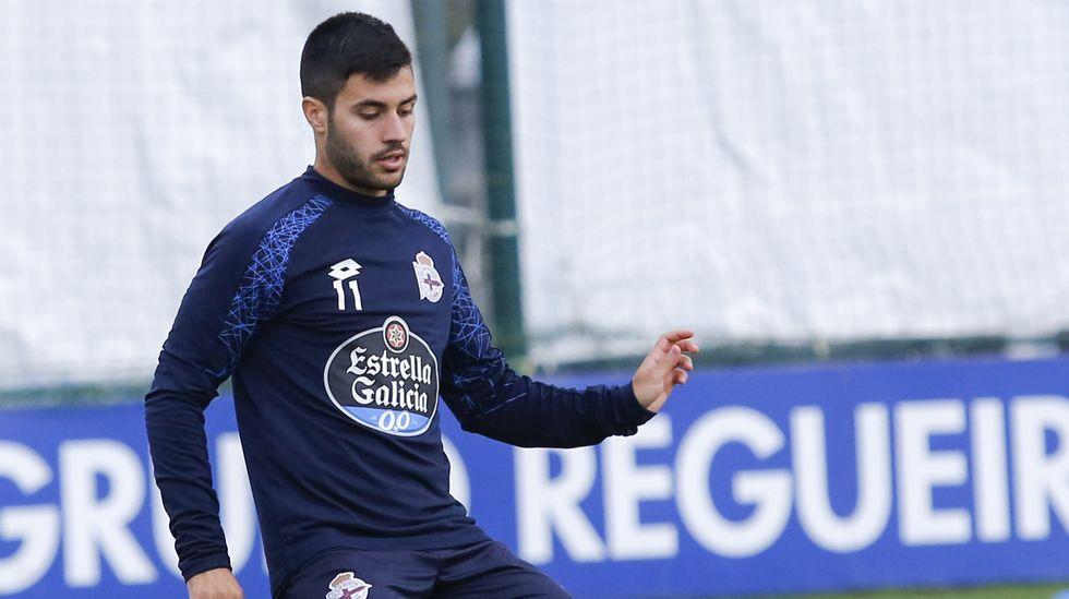 El Espanyol-Deportivo, en fotos.Borja Valle en un entrenamiento con el Deportivo