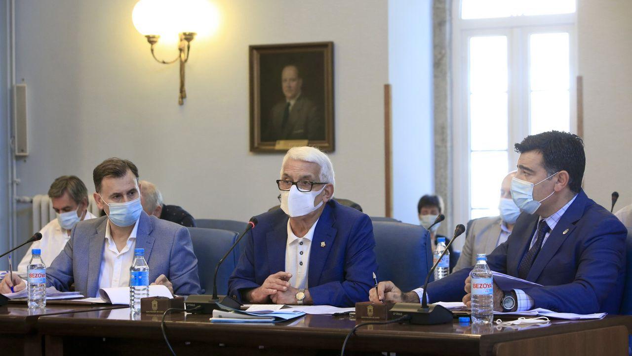 Grupo del PP en la Diputación, con su portavoz, Javier Castiñeira, a la derecha