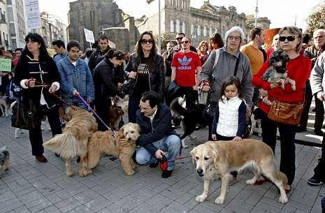 Dueños de perros solicitaron el sábado en la plaza de España un parque para canes en la ciudad.