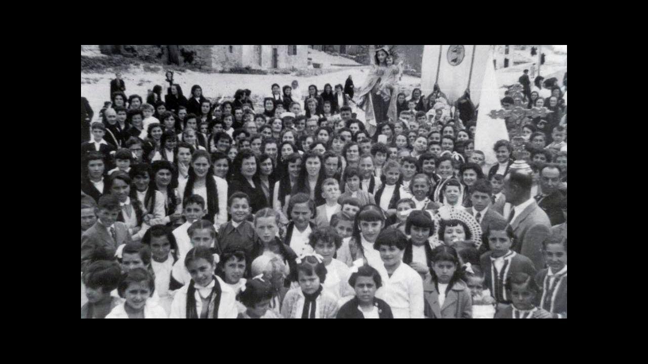 Procesión del Carmen en San Cibrao, en los años 50 del siglo XX
