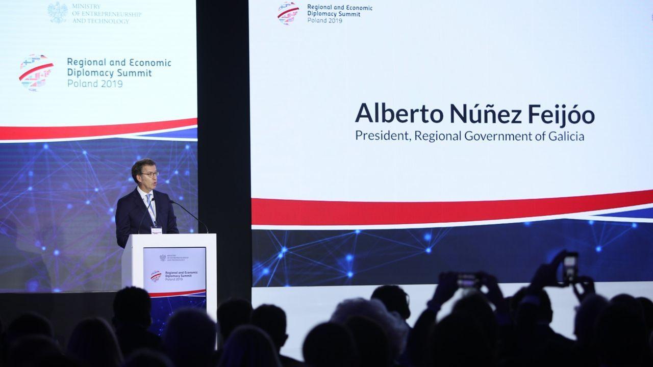 Feijoo, durante su intervención en el Foro de Diplomacia Regional y Económica de Varsovia