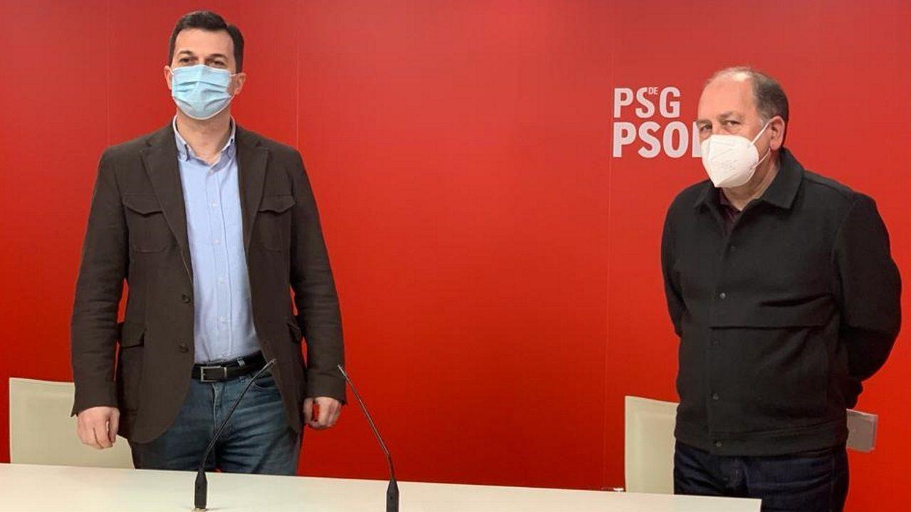 Gonzalo Caballero y Xoaquín Fernández Leiceaga comparecieron tras terminar el comité federal del PSOE, celebrado semipresencialmente