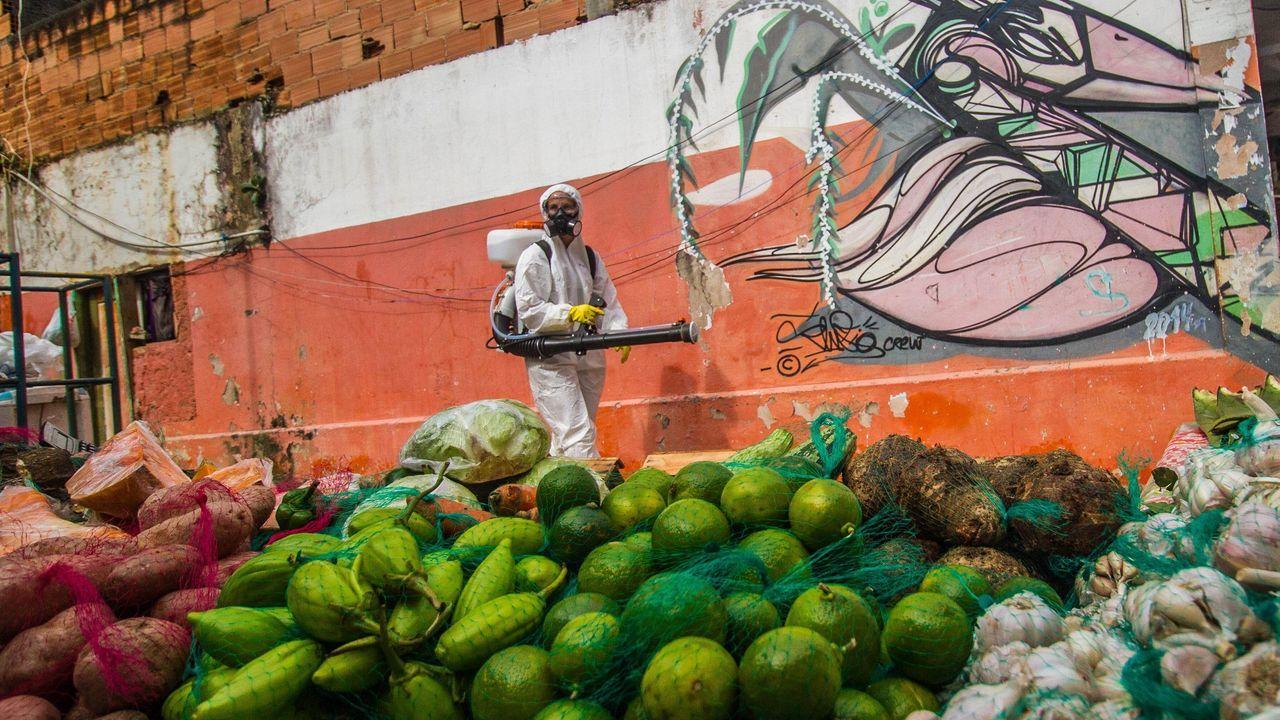 Un trabajador desinfecta un barrio de Brasil