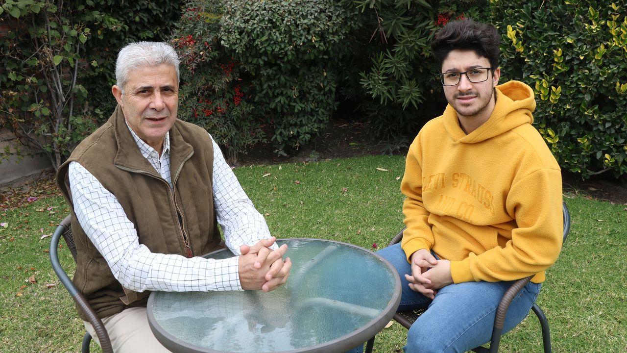 Ángel Pérez junto a su mujer Pamela. A la derecha, Jorge Castro