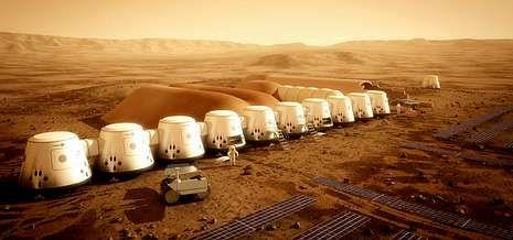 Recreación digital de cómo sería la colonia que habitarían los primeros humanos que viajen al planeta Marte.