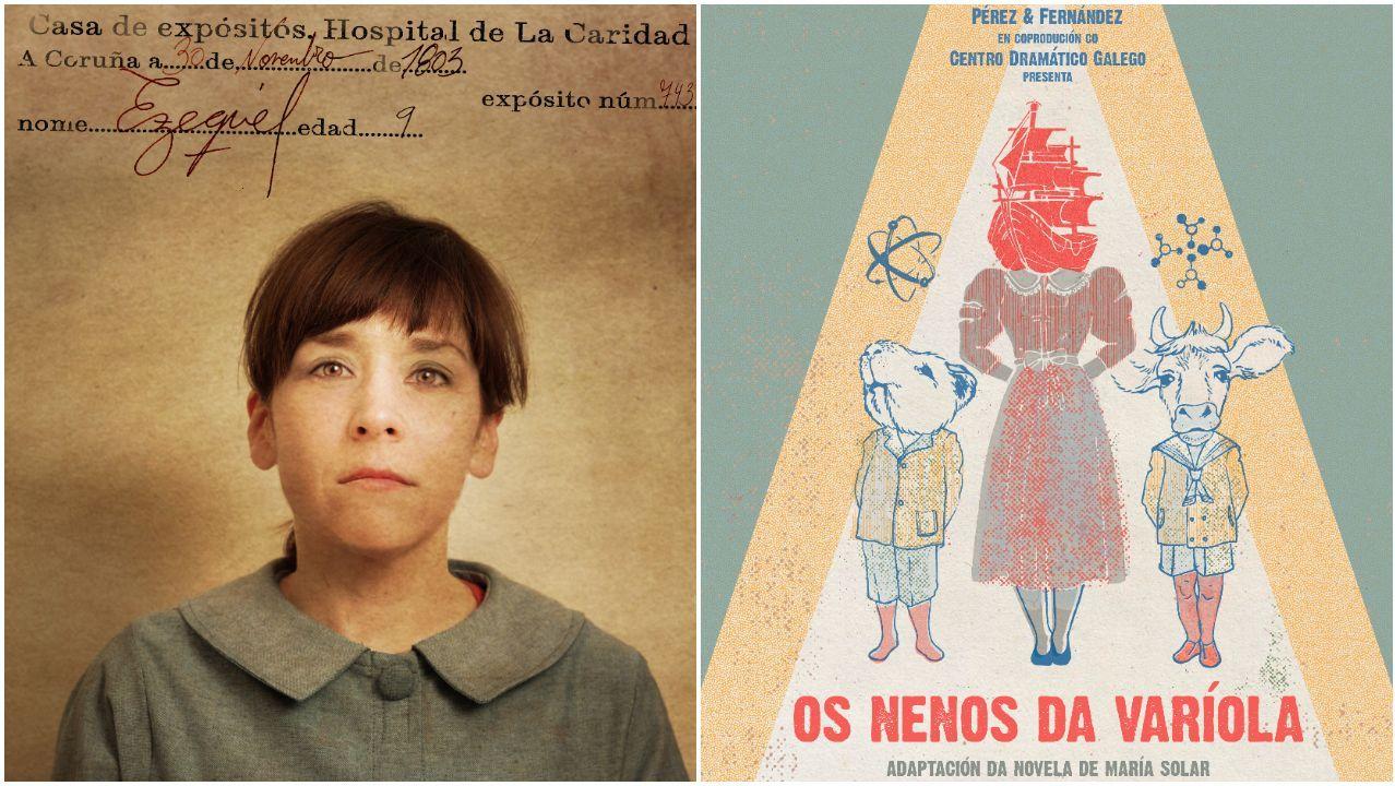 Á esquerda, Isabel Risco, caracterizada como un dos nenos da expedición, xunto co cartel da obra