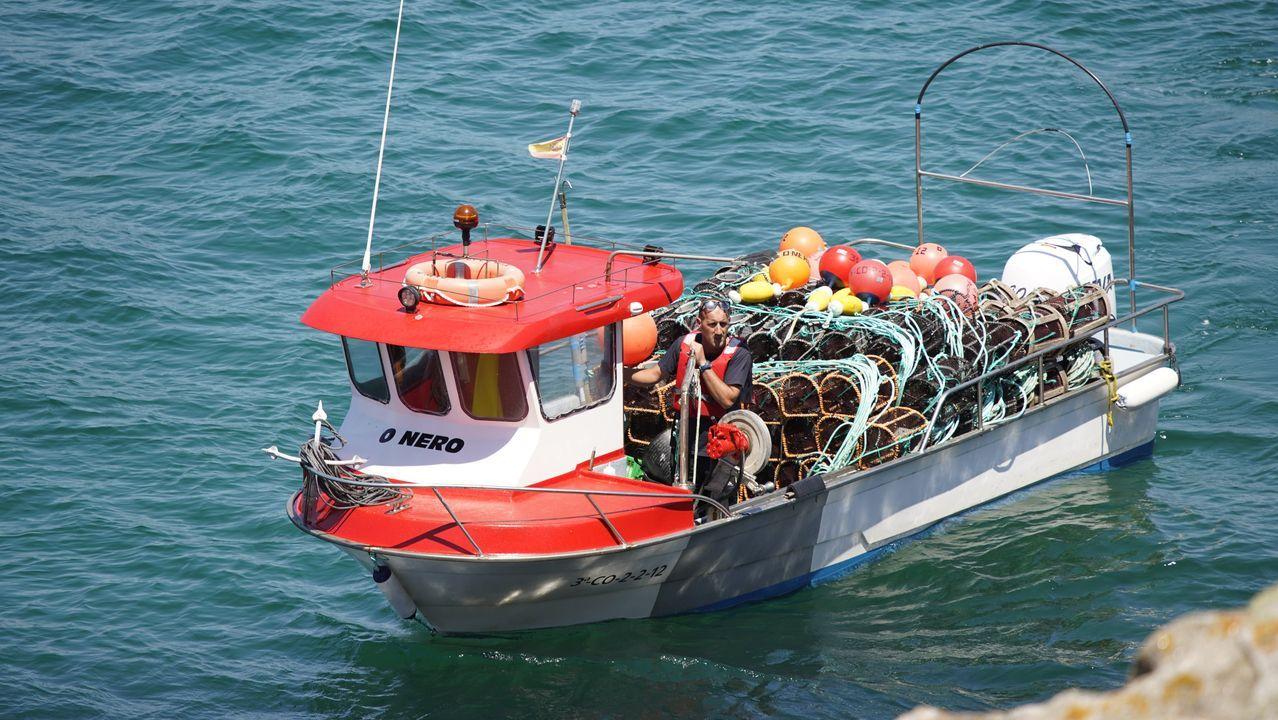También se sumaron navalleiros de Porto do Son, entre ellos el patrón mayor, quienes en la zona de Caveiro