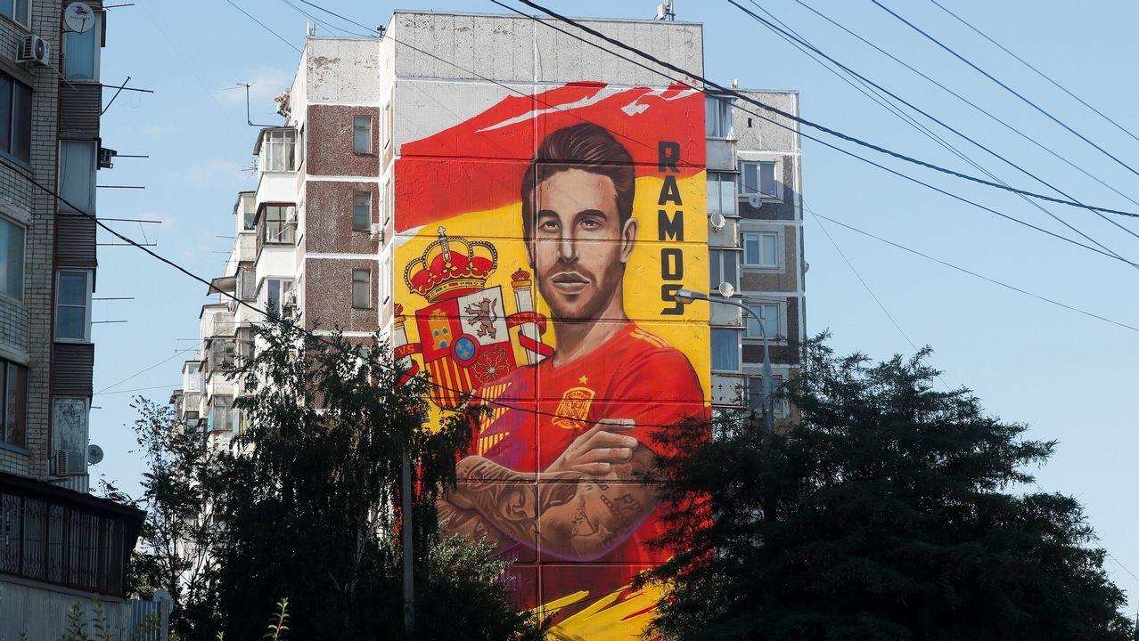 Ilustración en un edificio de Krasnodar, a una semana de que empiece el mundial de Rusia