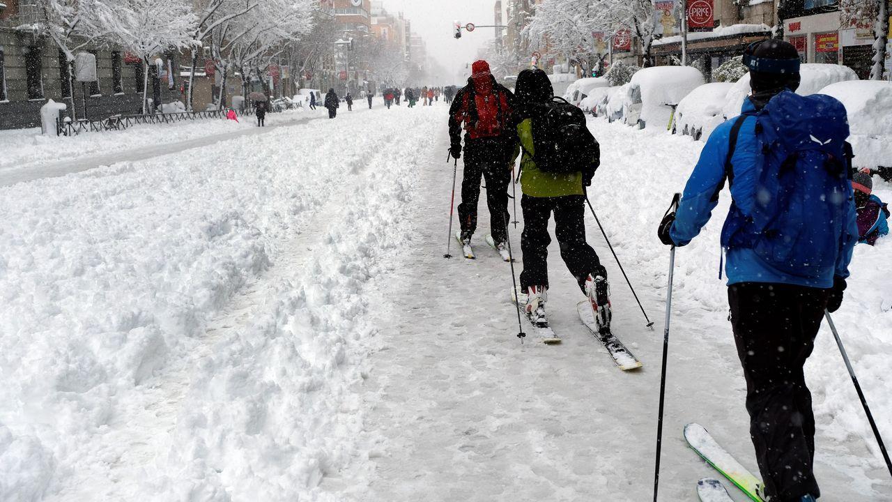 Esquiadores en Atocha