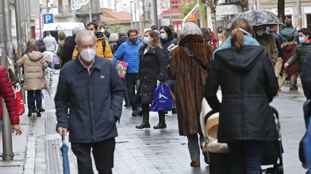 Una calle comercial de la ciudad de Pontevedra, estas Navidades