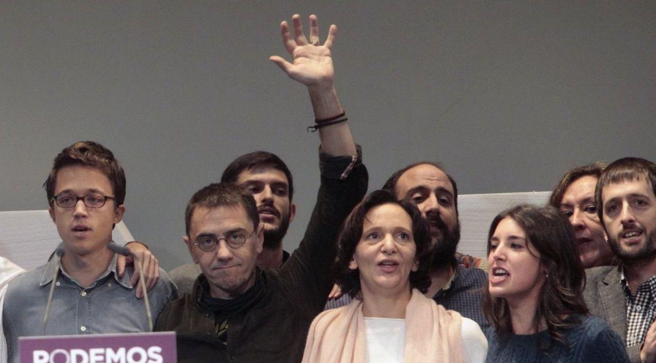 Íñigo Errejón, Juan Carlos Monedero y Carolina Bescansa (en la foto, en el acto fundacional de Podemos) compartían sus consejos políticos desde la Fundación CEPS con los regímenes de Nicaragua, Bolivia y Venezuela, entre otros