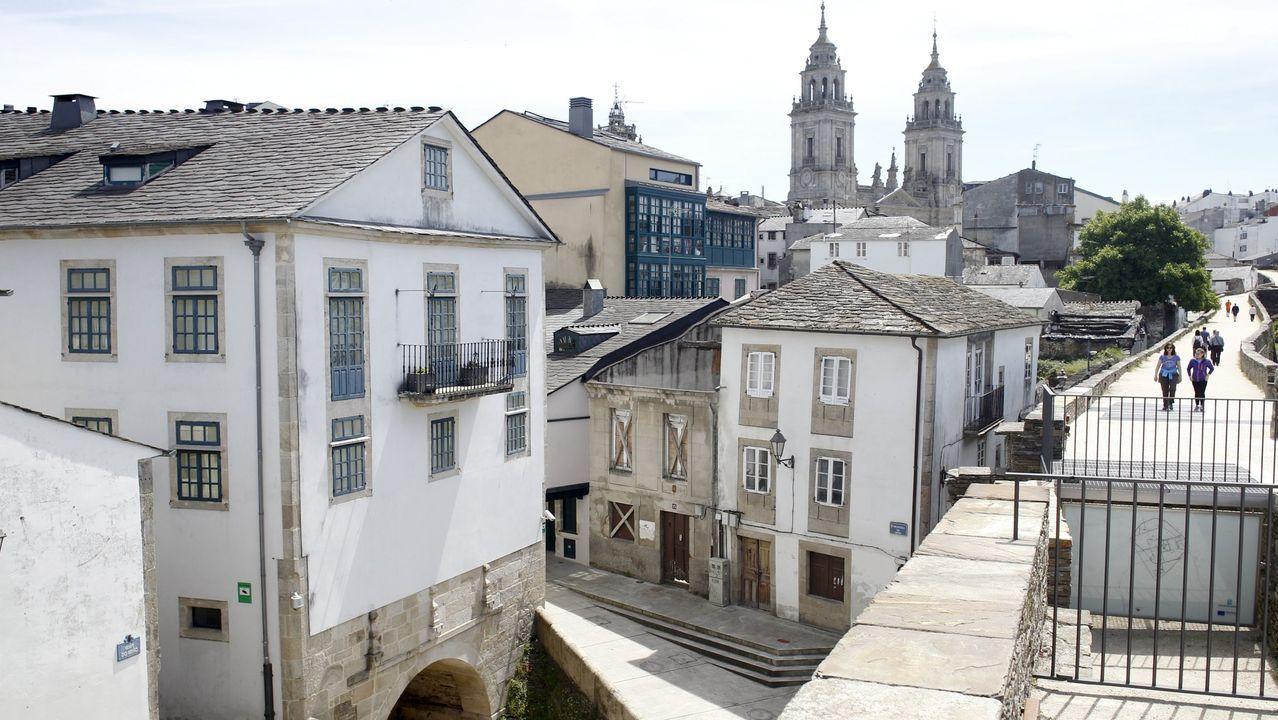 Los palacios de Lugo junto a la Muralla.Ruinas del hospital de peregrinos de Montouto