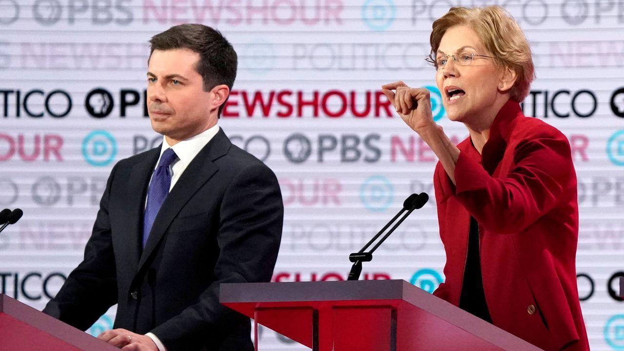 Pete Buttigieg y  Elizabeth Warren, durante el debate