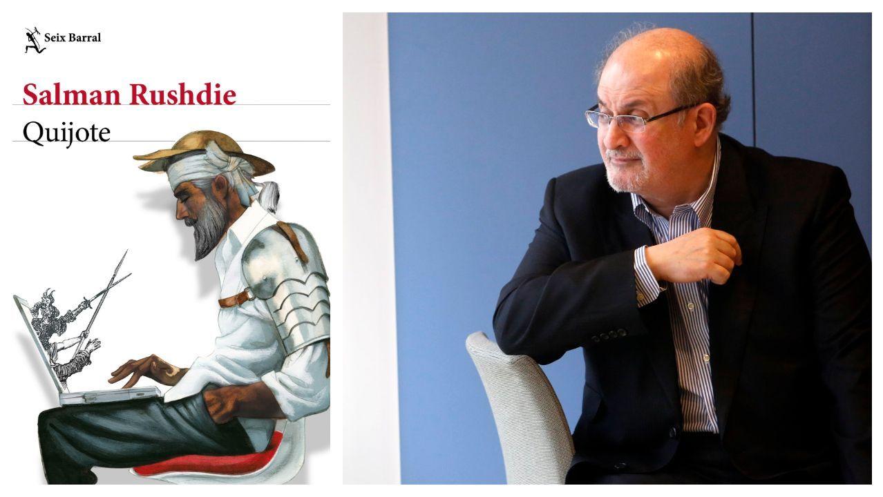 El escritor Salman Rushdie, retratado por Benito Ordóñez, durante una de sus últimas visitas a España. A la izquierda, portada de su última novela en la edición en castellano del sello Seix Barral