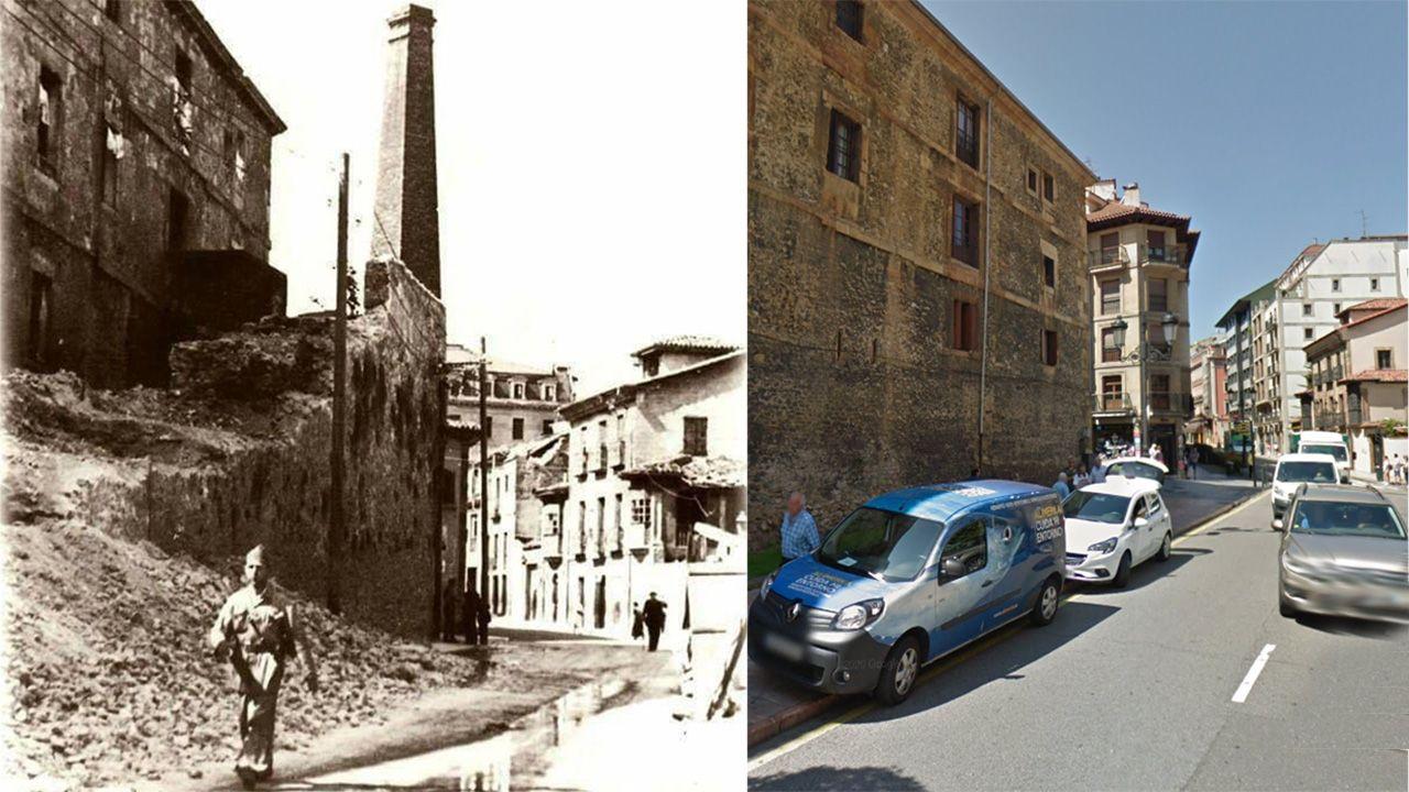 A la izquierda, el tramo de la muralla de Oviedo en la calle Jovellanos que se terminó de eliminar en 1937. A la derecha, el mismo lugar actualmente, donde se ve la cara norte del monasterio de Las Pelayas