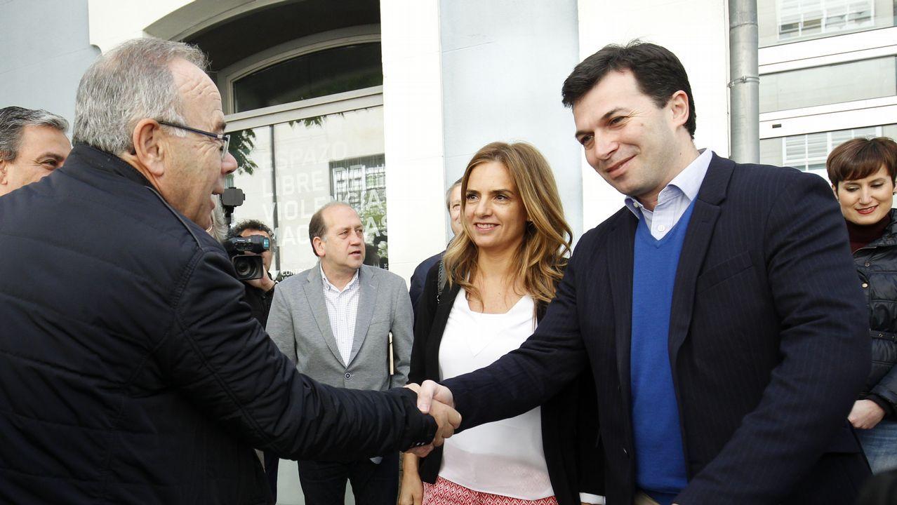 Pedro Sánchez escucha cómo Javier Fernández atiende a los medios de comunicación, durante una visita a Asturias.Gonzalo Caballero, en la jornada de politica municipal del PSdeG