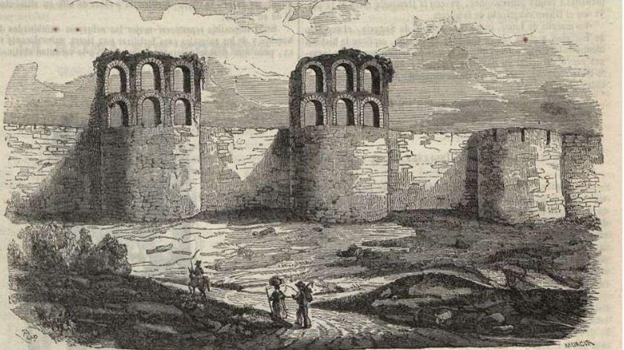 Grabado de 1850 del Seminario Pintoresco Español, donde se ven algunos cubos de la Muralla