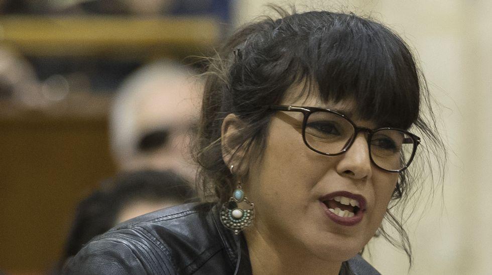 Errejónvincula la fuerza de Podemos al«tándem»con Pablo Iglesias.Errejón e Iglesias en el Congreso