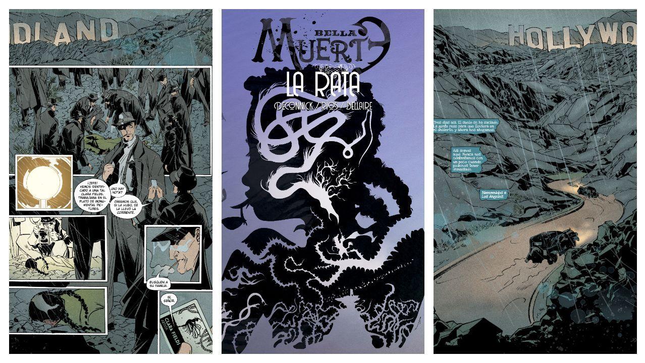 La portada de la última entrega de Bella Muerte, por la que Emma Ríos se ha llevado un premio Eisner, entre dos páginas del libro