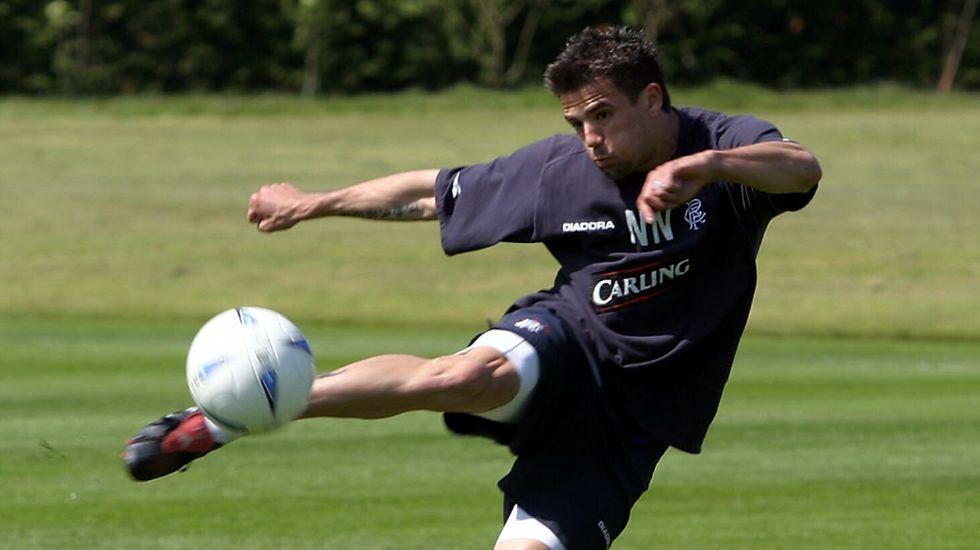 El ferrolano Nacho Novo, durante un entrenamiento con el Glasgow Rangers