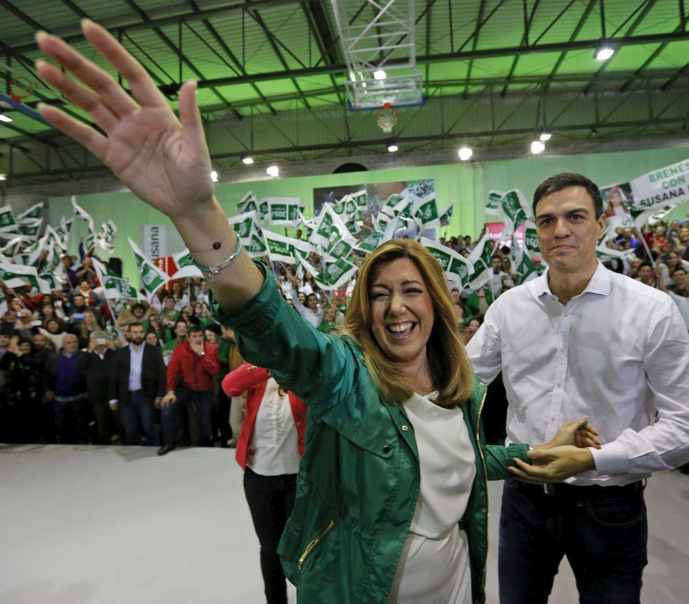 Susana Díaz acaparó todo el protagonismo y Pedro Sánchez quedó en segundo plano.