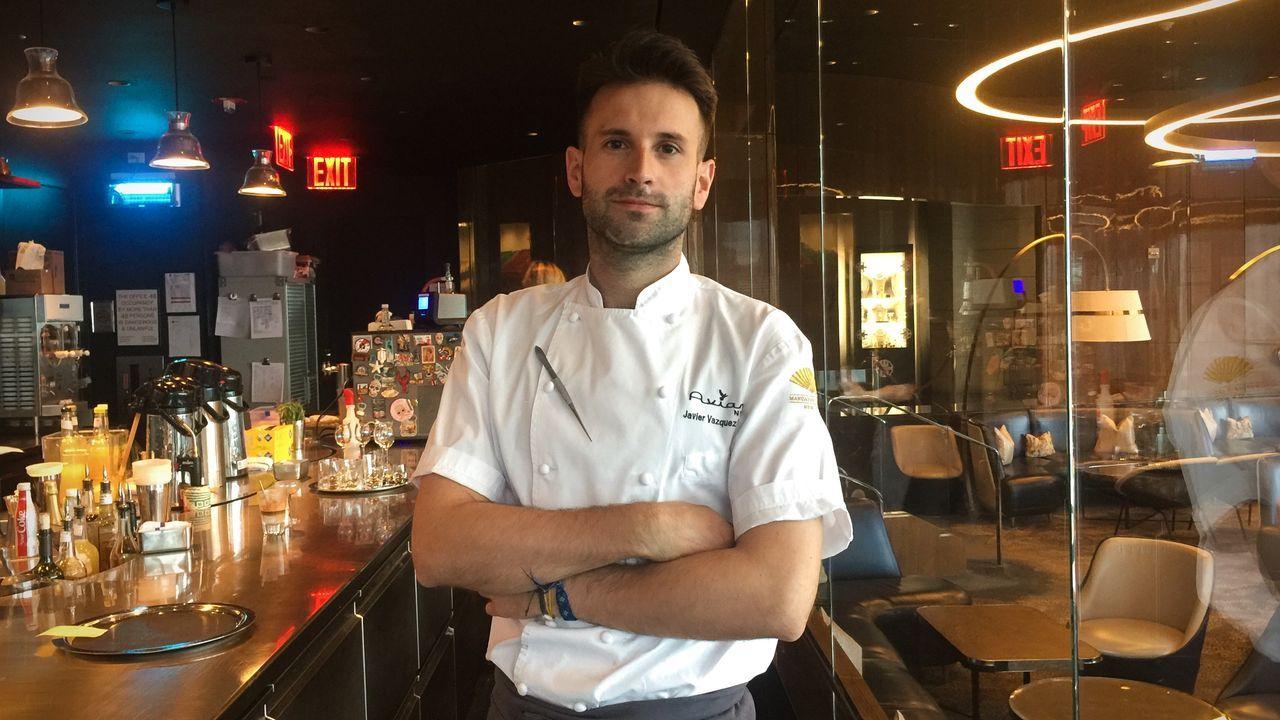 Javier Vázquez en el restaurante que dirige en Nueva York