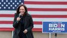 Kamala Harris, candidata demócrata a la vicepresidencia de EE.UU., durante un mitin en Mïchigan el pasado domingo