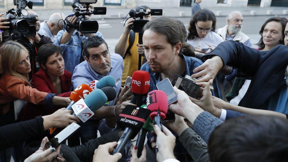 El portavoz en el Congreso de Podemos, Íñigo Errejón a su llegada al Congreso