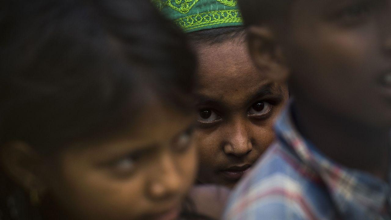 Niños refugiados Rohingya en Myanmar