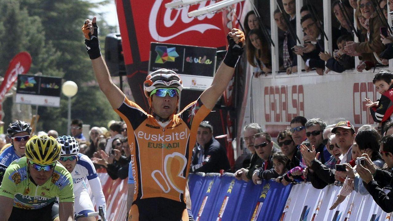 Juan José Lobato, cuando corria en Euskaltel Euskadi, durante la Vuelta a Castilla y León