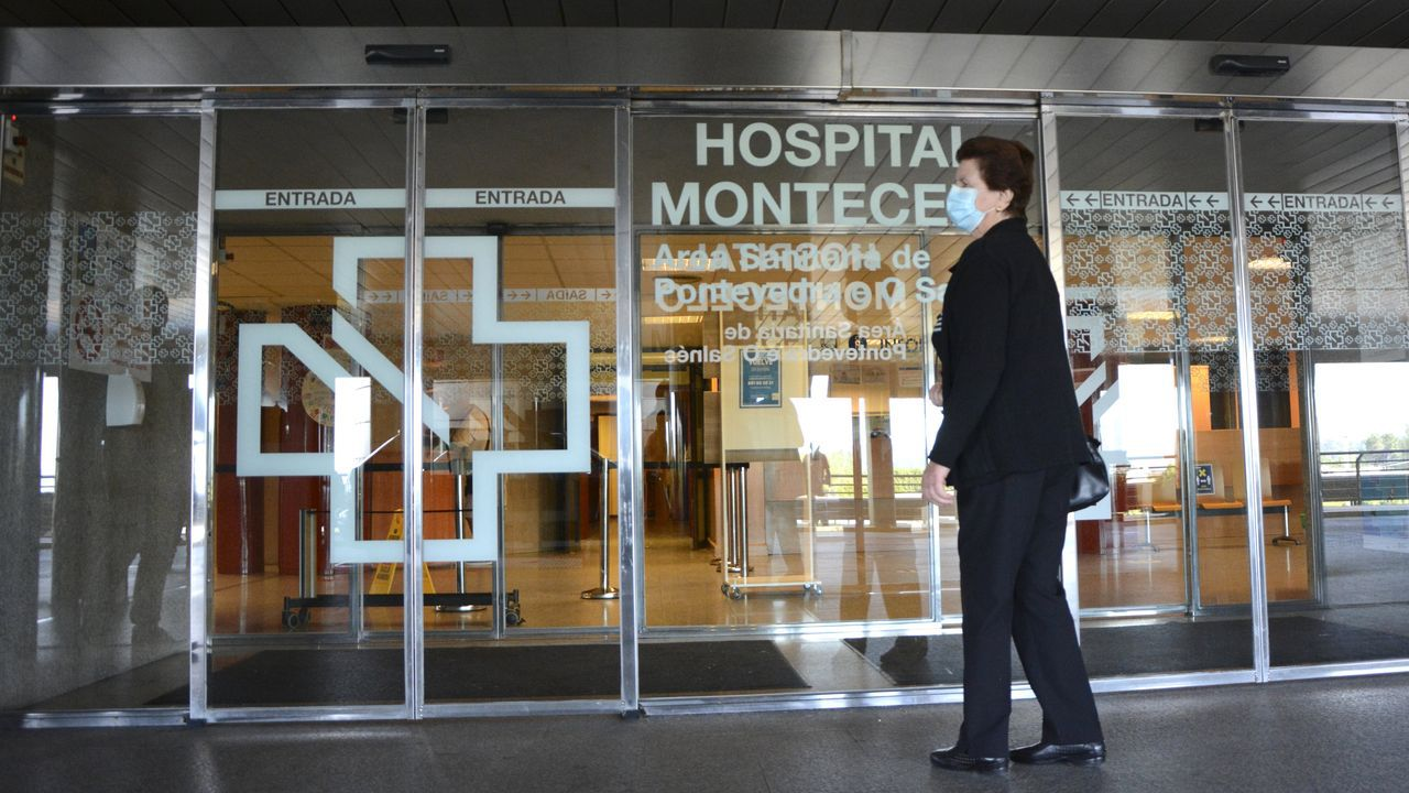 En el Hospital Montecelo, en Pontevedra, hay tres pacientes de coronavirus ingresados, uno en planta y dos en la uci