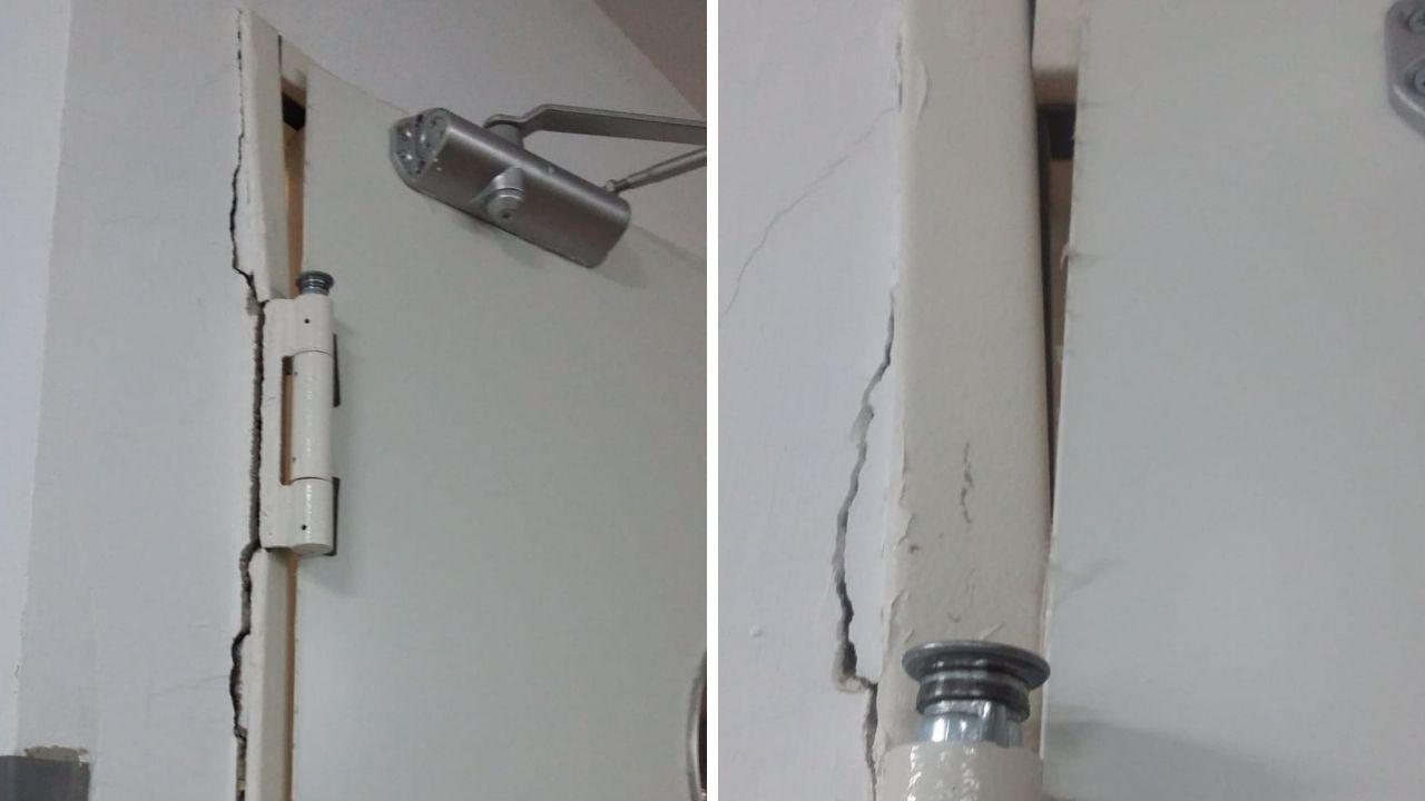 Desperfectos en la residencia mixta de Pumarín.La puerta de acceso al comedor de válidos, tras las obras de reforma