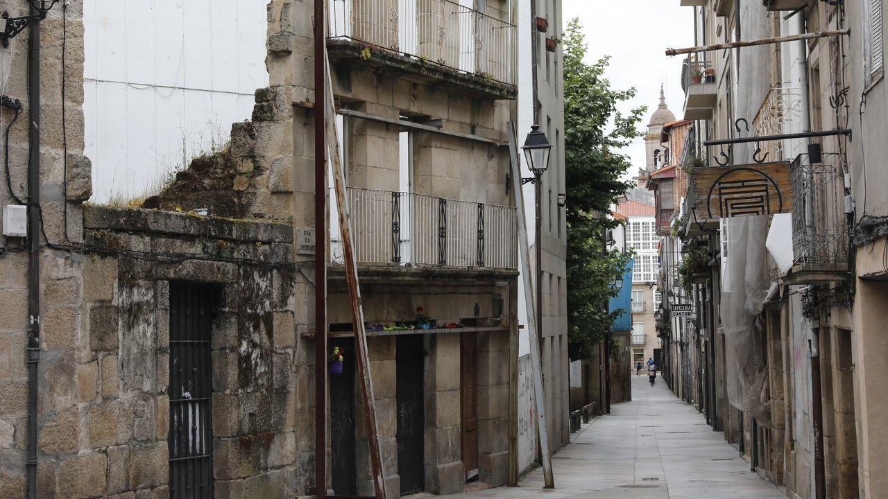 La zona sur del casco histórico de Ourense concentra buena parte de los edificios en mal estado