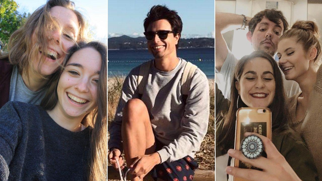 Alba Prada y Alba Saturio, de Valdeorras; Guillermo Marchena, de Portonovo; y Noelia, Carlos y Ahinara: universitarios buscando alquileres.