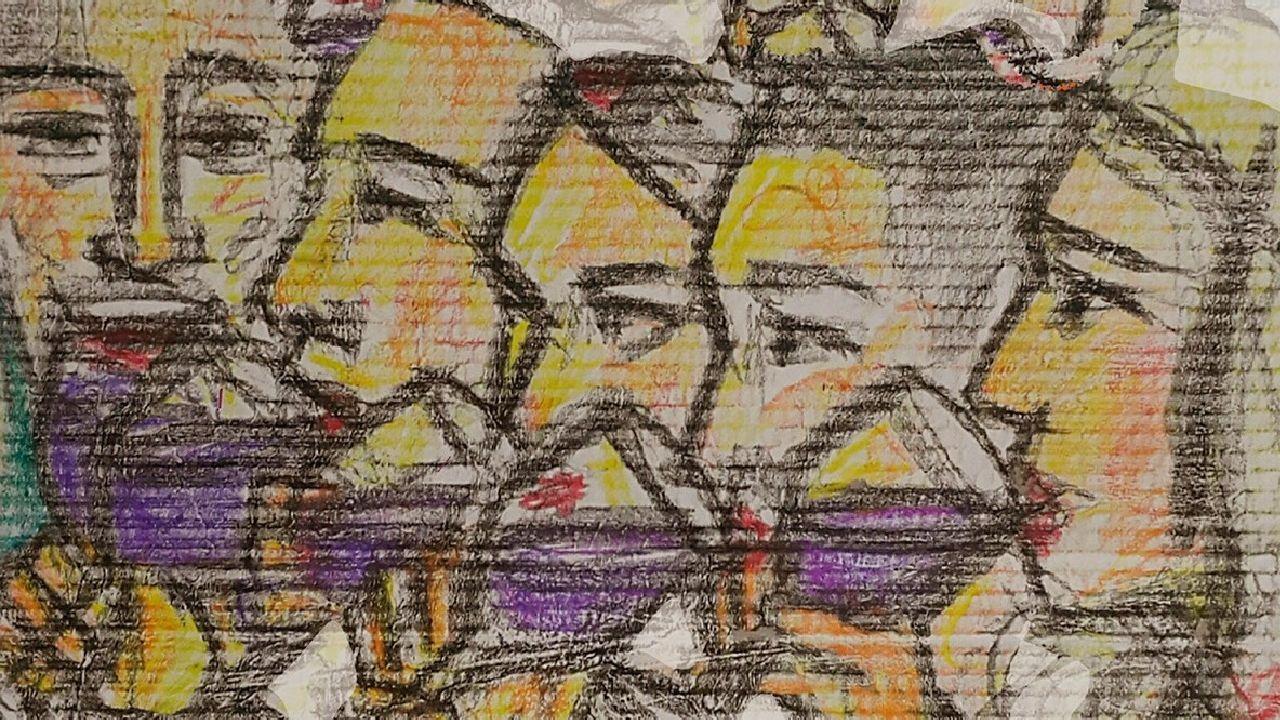Cartel anunciador realizado por el artista Lomarti para la próxima Feira do Viño, en el que no figuran las fechas de celebración