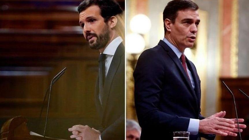 Pablo Casado y Pedro Sánchez, en el último pleno celebrado en el Congreso