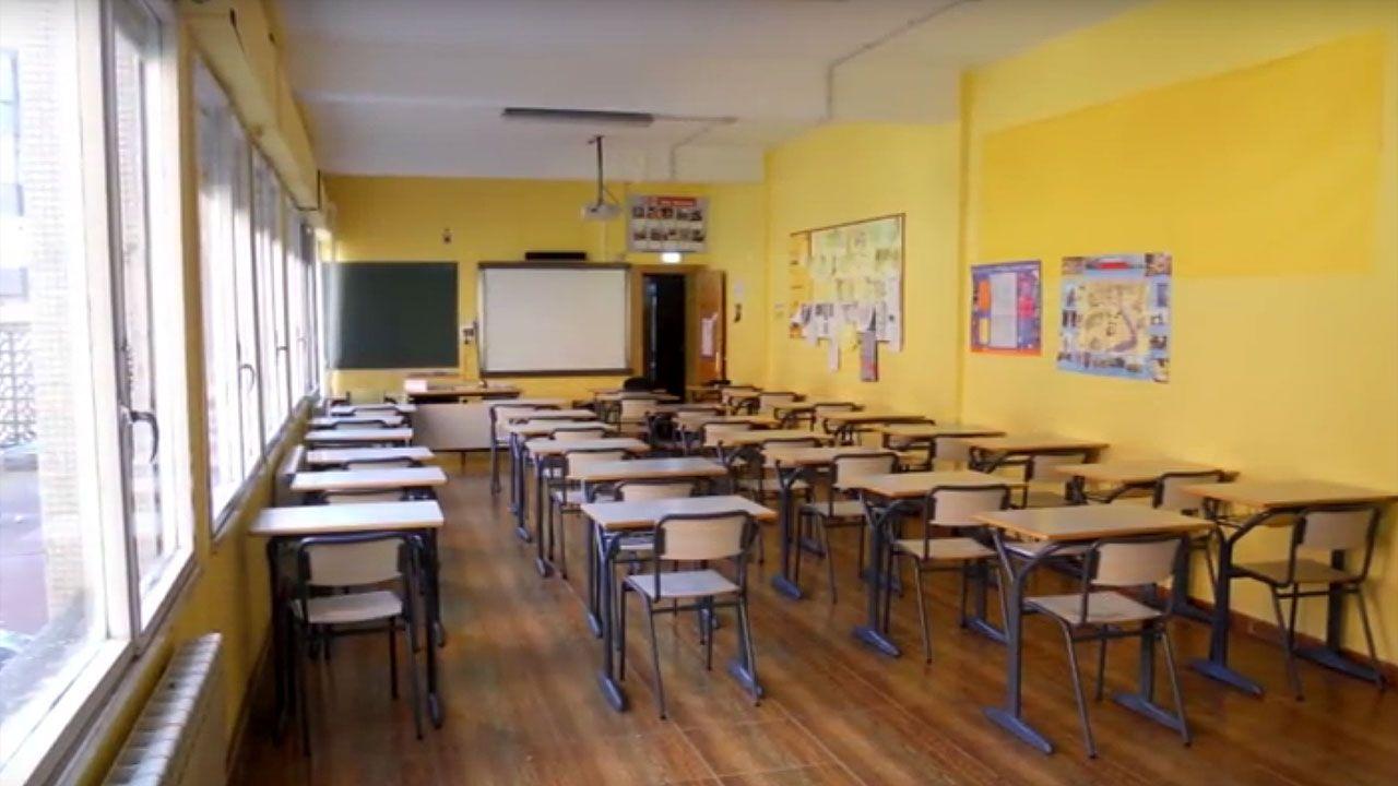 Una de las aulas de Secundaria del Colegio San Miguel de Gijón