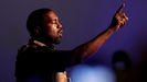 El rapero Kanye West durante el mitien en Carolina del Sur