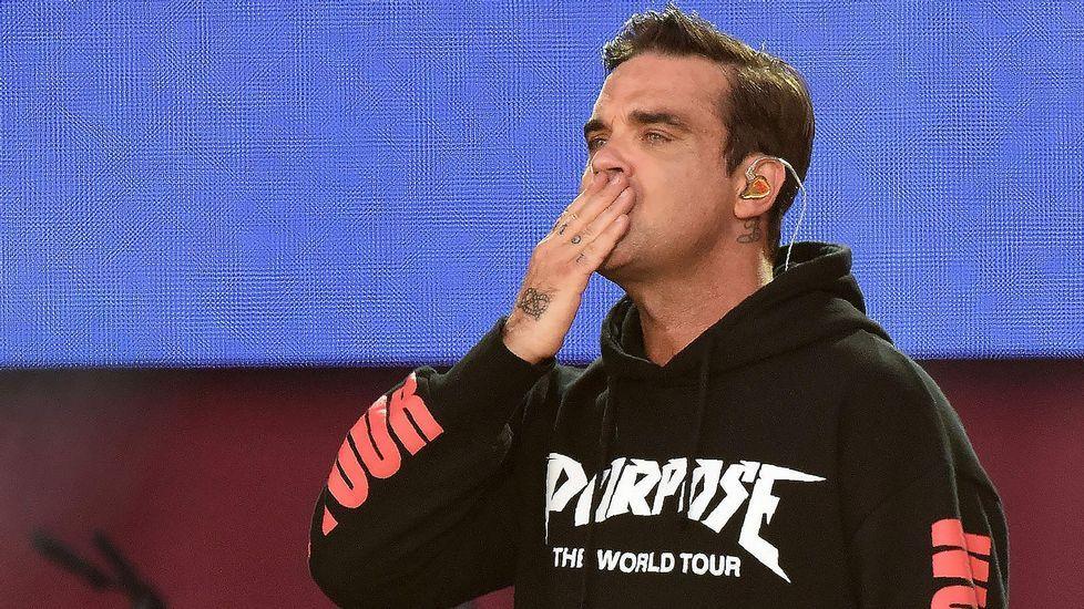 Robbie Williams, durante su actuación de este domingo