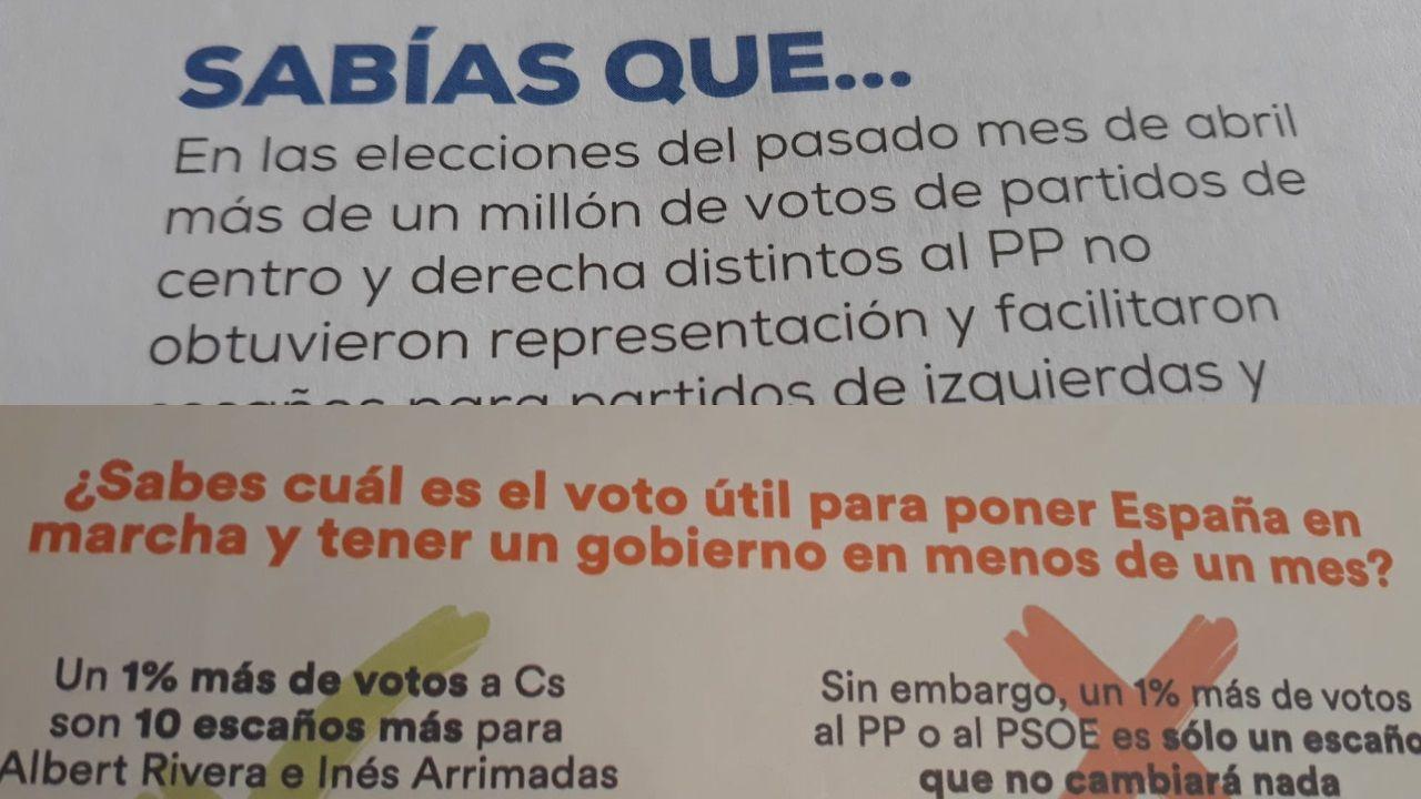 Los mensajes en las papeletas de PP y Ciudadanos