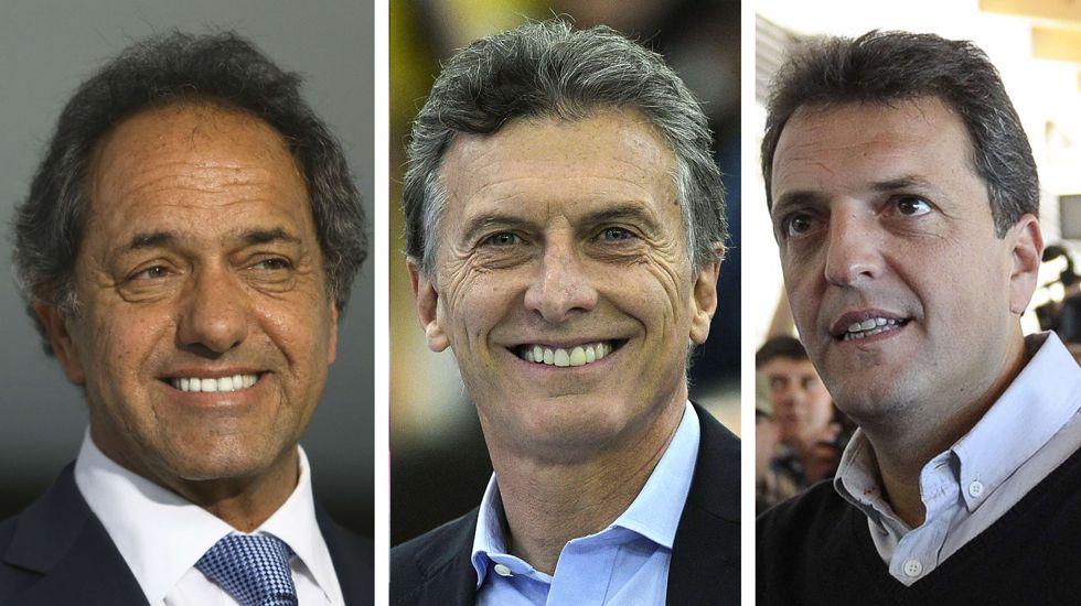La visita de Obama a Argentina.De izquierda a derecha: Los candidatos Daniel Scoli, del Frente para la Victoria; Mauricio Macri, de Propuesta Republicana, y Sergio Massa, de Una Alianza Alternativa