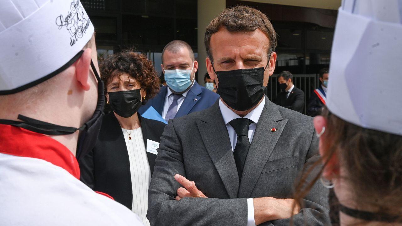 Macron, durante su visita a una escuela de hostelería en Drome