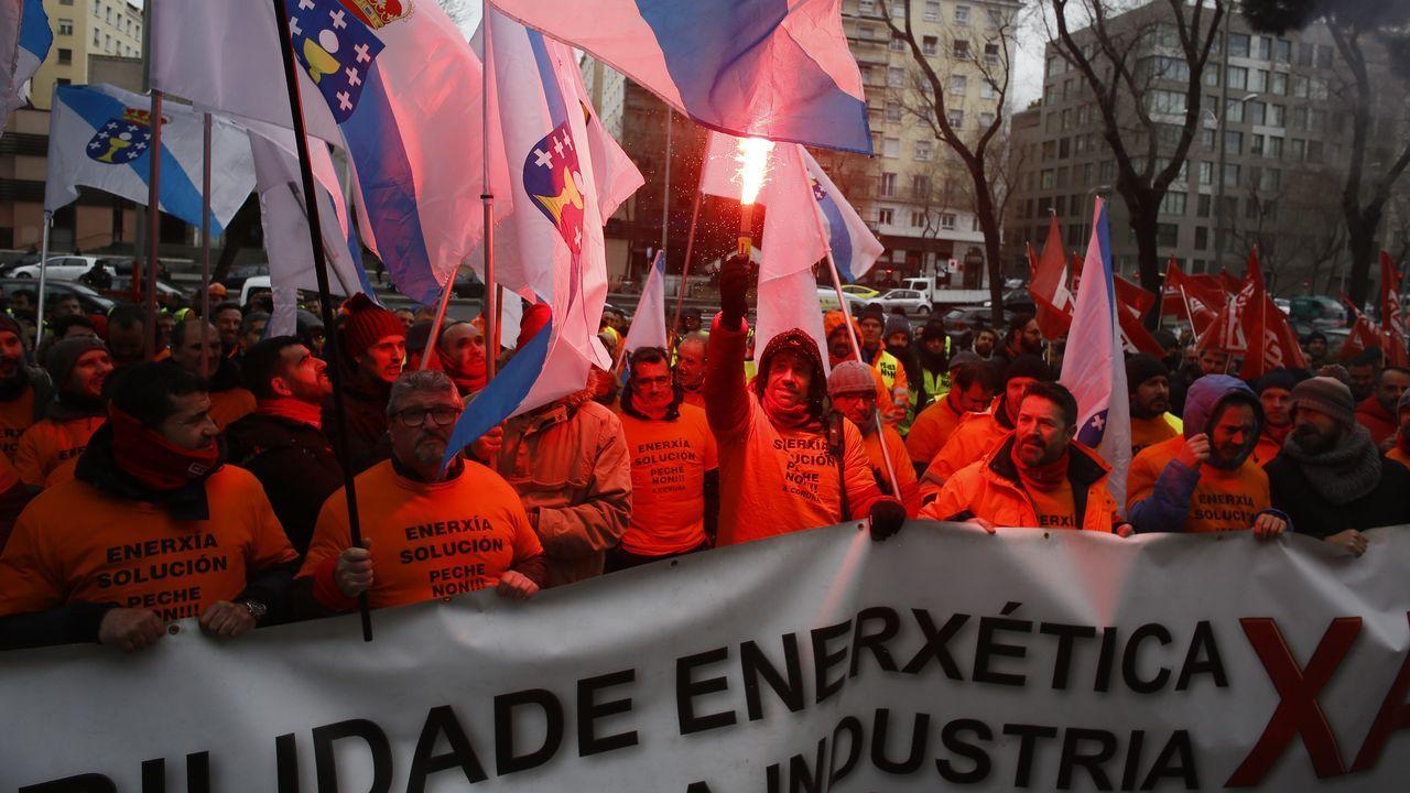 Manifestación de los trabajadores de Alcoa en Madrid