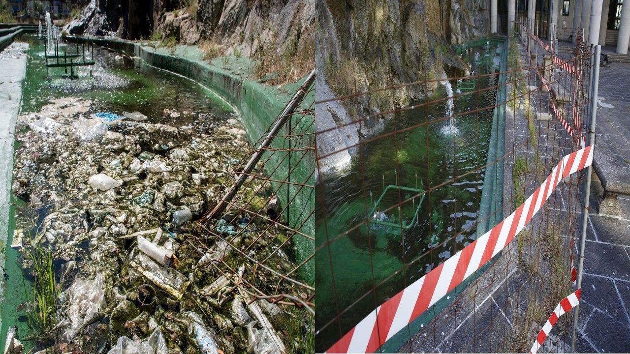 Antes y después de la limpieza del estanque del Palacio de la Ópera
