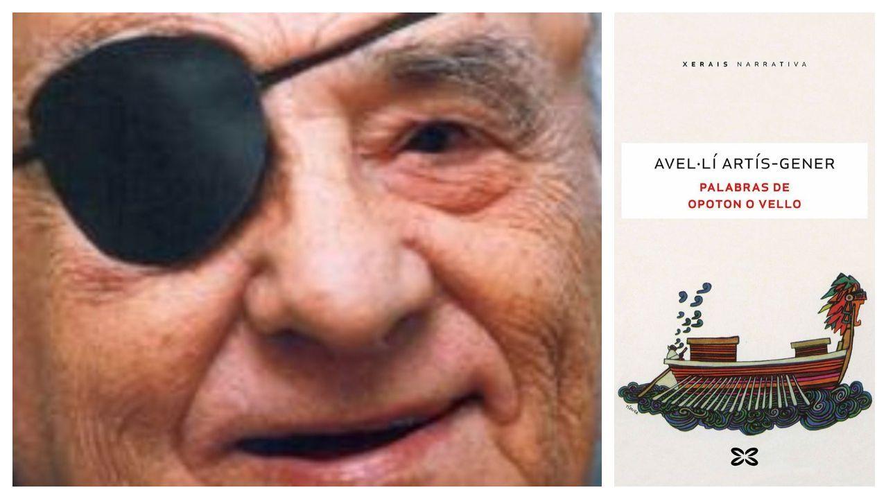 Retrato do escritor Avel·lí Artís-Gener (Barcelona, 1912-2000) e detalle da portada do seu libro «Palabras de Opoton o Vello» na edición de Xerais