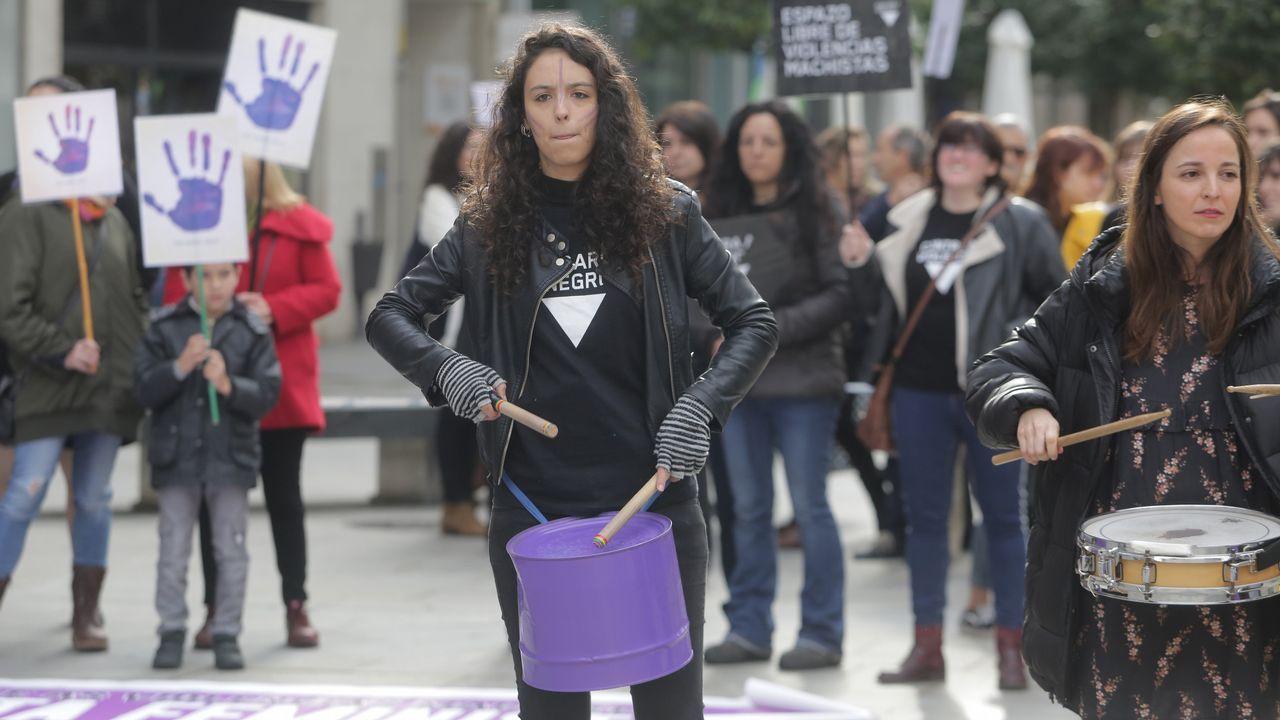 Manifestación contra la violencia machista en Arousa