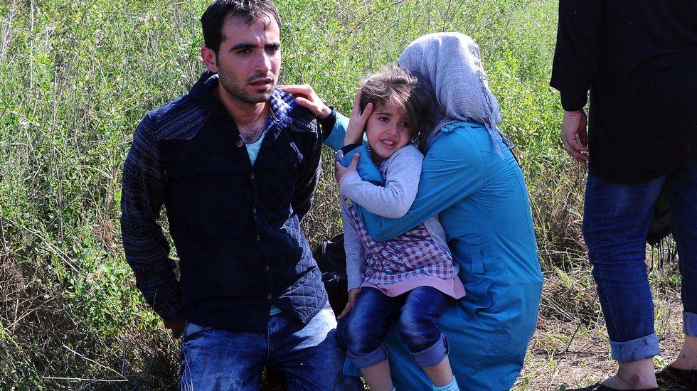 El padre de una familia de inmigrantes se arrodilla esposado junto a su familia en la frontera entre Hungría y Serbia