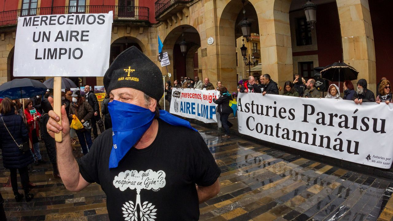 Mascarillas contra la contaminación.Una anterior protesta convocada por la plataforma contra la contaminación en Gijón