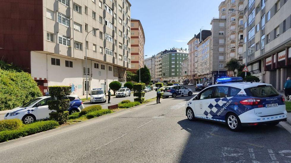Imagen de archivo de un control diurno de la Policía Local de Lugo en la Avenida das Américas